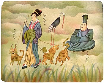 GEISHA WITH HER DOGGIES - Click here for bigger picture